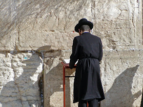 Photo: This Jewish worshiper rocked back and forth while praying; later, the guide said he did that to improve his concentration while praying.  The guide said he had tried it too and it seemed to work.