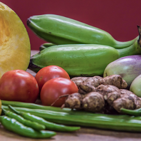 Vegetables by Mahul Mukherjee - Food & Drink Fruits & Vegetables ( pumpkin, food, vegetables, raw banana, chilli, tomatojal, lemon )