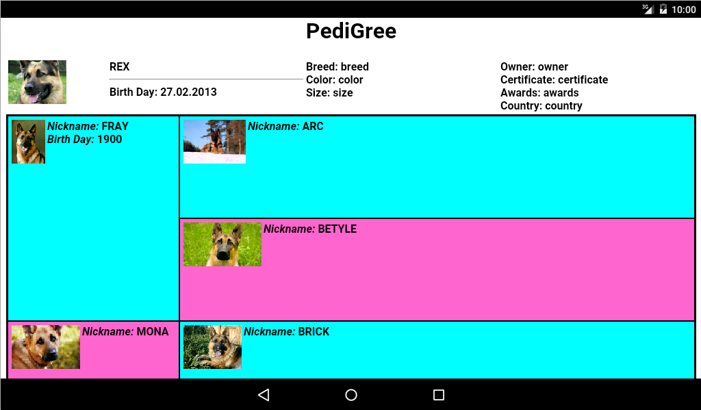 Pedigree of the Animal- screenshot
