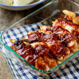 Bacon Wrapped Chicken with Jack Daniels BBQ Sauce.