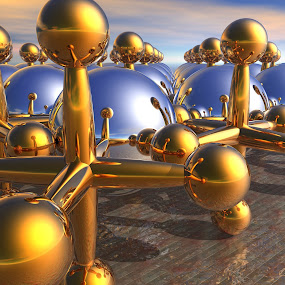 Balls and Jacks by Lyle Hatch - Illustration Products & Objects ( reflection, balls, 3d, silver, bryce, 3-d, gold, jacks, spheres, refraction, rendering, three dimensional, shiny )