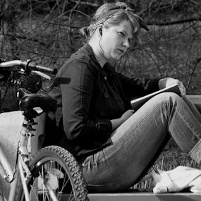 observation by Renato Dibelčar - Black & White Portraits & People ( blackandwhite, monochrome, girl, observation, park, woman, outdoor, ljubljana, youth, young, tivoli, bicycle )