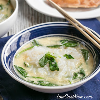 Spinach Egg Miracle Noodle Soup.