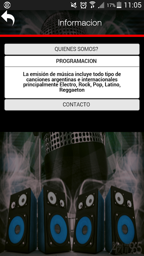 Azul Play Radio: captura de pantalla
