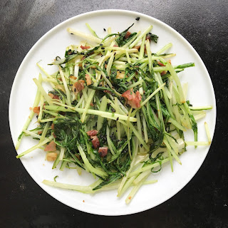 Mizuna (Japanese Mustard Greens) with Garlic and Bacon.