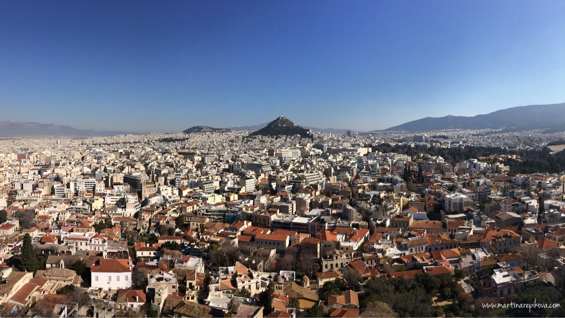 Lycabettus hill as seen from the Acropolis, Athens, Greece