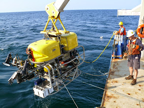 Photo: Deployment of Kraken2 ROV from the R/V Connecticut (Image courtesy of Gulf of Maine Deep Sea Coral Science Team 2014/NURTEC-UConn/NOAA Fisheries/UMaine)