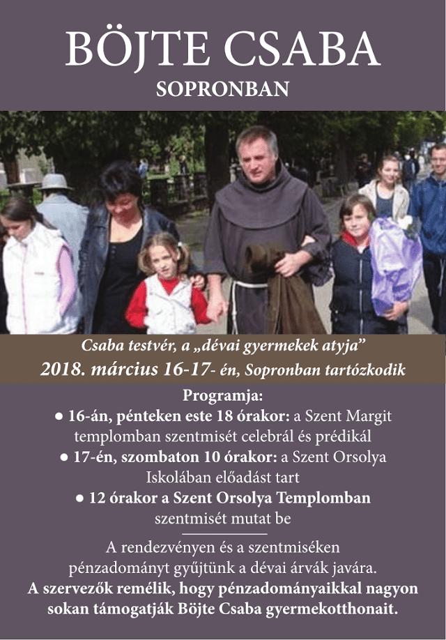 Böjte Csaba Sopronban - plakát