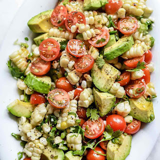 Grilled Corn Salad with Tomato and Avocado.