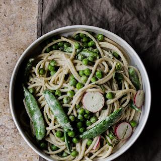 Spring Pea Spaghetti with Herbed Tahini Sauce.