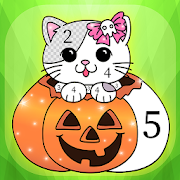 Glittery Halloween Coloring Book By Numbers