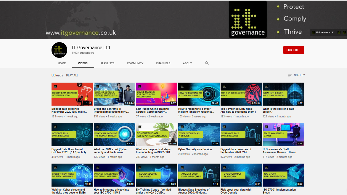 IT Governance Ltd Youtube Channel