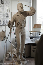 Photo: The clay model of the statue.