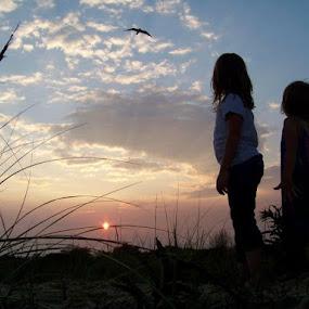 girls watching the gulls by Cindy Swinehart - People Street & Candids
