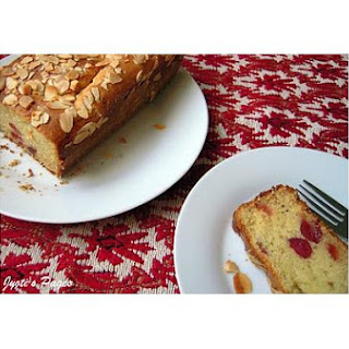 Eggless Almond and Cherry Cake.