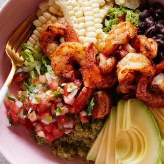 Avocado Shrimp Quinoa Bowl with Cilantro Vinaigrette.