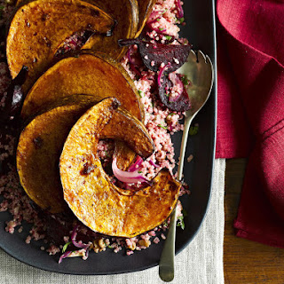 Balsamic-Roasted Acorn Squash with Beet Quinoa.