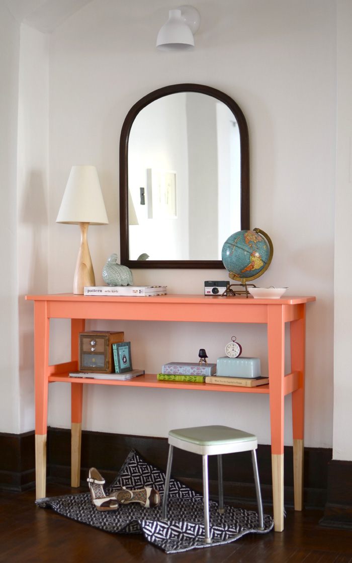 Color Dipped Entryway Table: These will help you save money and transform your space.