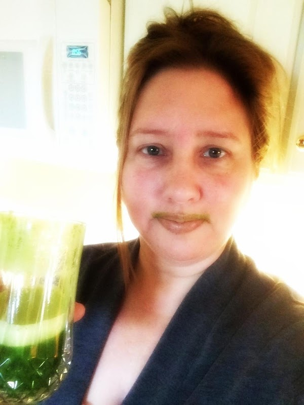 Drink up and sport your green stache. lol --- We drink this up the...