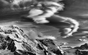 Photo: Way up in the Alps... the delicate thin air forms icy wisps that gather around in whirling spirals... gliding from mountain top to mountain top like ever-flowing dancers...  This was just taken a few steps from my hotel room. I'm staying at an amazing place called the Omnia in Zermatt. Maybe we'll do a hangout from the balcony tomorrow!