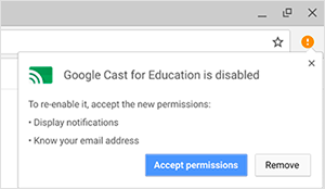 Google Cast for Education is disabled