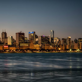 Chicago at Sunset by Amy Ann - City,  Street & Park  Night (  )