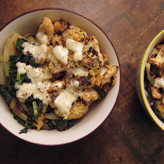 Roasted Cauliflower Over Kale & Fennel With Garlicky Tahini Dressing
