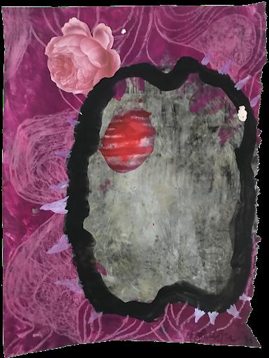 demain_aube_sophie_lormeau_serie_matiere_rose_cerveau_mind_corps_esprit_peinture_acrylique_papier_magazine_tache_rouge_epines_ronce_rose_noir_femme_artiste_memoire_art_contemporain_singulier_emergent_collection_©_adagp_paris_2021_
