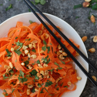 No Spiralizer Carrot Noodles with Peanut Sauce.