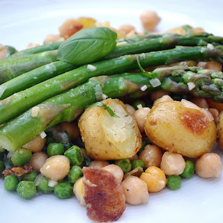 Roasted New Potato, Asparagus & Chickpea Salad with Lemon Basil Vinaigrette