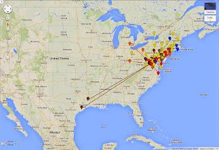 Photo: K8GP / Rover - FM08US QSO map - ARRL June VHF 2014 - Brn=50 Red=144 Org=222 Yel=432 Grn=902 Blu=1.2G Pur=2.3G Gry=3.4G Wht=5.7G Gld=10G