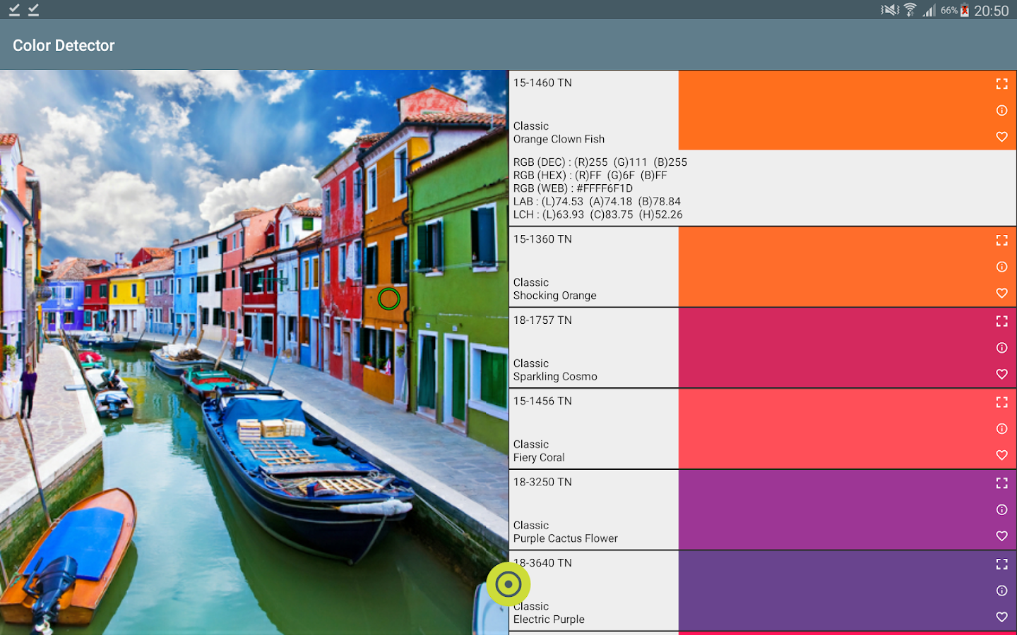 Color detector for RAL and PANTONE– captura de ecrã