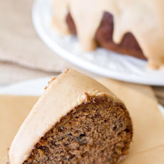 Banana Bundt Cake with Peanut Butter Glaze.