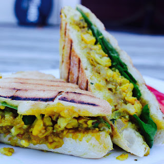 Spiced Chickpea, Mango Chutney and Cauliflower Curry Paninis.