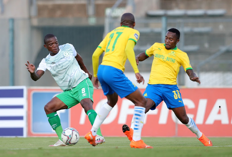 Lantshene Phalane of Bloemfontein Celtic challenged by Lebohang Maboe of Mamelodi Sundowns during the DStv Premiership match between Mamelodi Sundowns and Bloemfontein Celtic at Lucas Masterpieces Moripe Stadium on January 19, 2021 in Pretoria, South Africa.