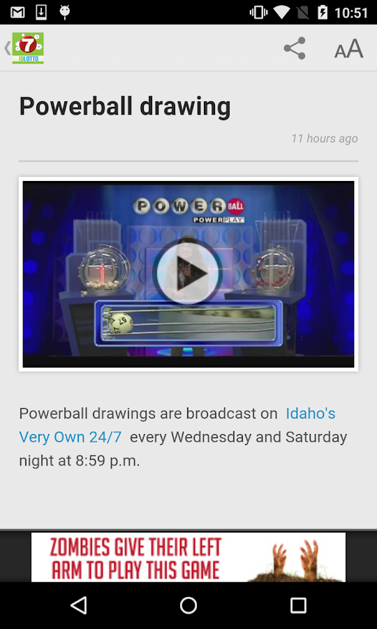 Idaho lottery numbers fromKTVB- screenshot