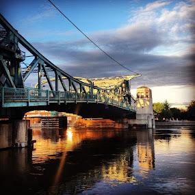 Suspension Bridge by Karen Carnahan - Buildings & Architecture Bridges & Suspended Structures ( illinois, park, des plaines river, joliet, bridge )