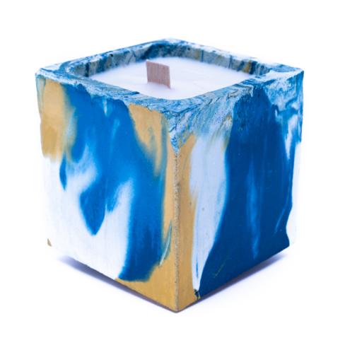 BOUGIE BETON marbré jaune et bleu pétrole