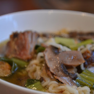 Ramen Noodle Soup with Lamb, Bok Choy and Mushrooms.