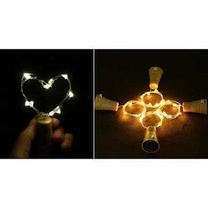 Set 2 instalatii solare 10 LED, in forma de dop de sticla