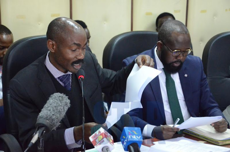 McDonald Mariga legal team lead by Elisha Ongoya who is the lead counsel and Moses Chelanga during tribunal hearing of his case at IEBC headquarters,Nairobi on September 13, 2019.