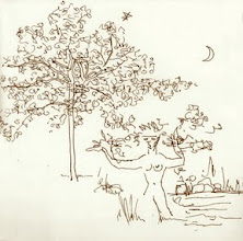 """Photo: 20.5cm x 20.5cm, 8"""" x 8"""", sepia ink, Moleskine Folio Sketchbook A4.  A whimsical drawing of Daphne becoming-tree drawn in the park in late spring."""
