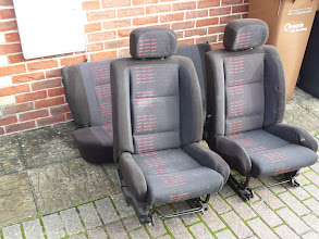 Photo: A temporary set a Renault 5 GT Turbo seats in red.. not blue.