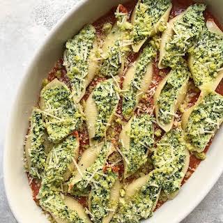 Creamy Stuffed Shells with Kale, Olives & Homemade Tomato Sauce (Vegetarian, Vegan/GF Friendly).