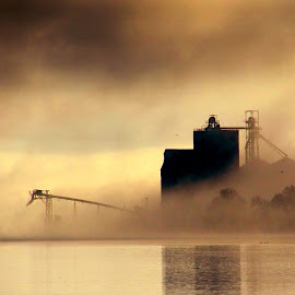 Fog along the river by Gaylord Mink - Buildings & Architecture Other Exteriors ( weather, river, building, fog )