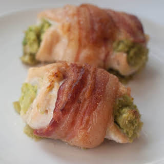 Avocado Stuffed Chicken Wrapped in Bacon.