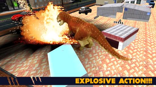 怒っている恐竜の攻撃
