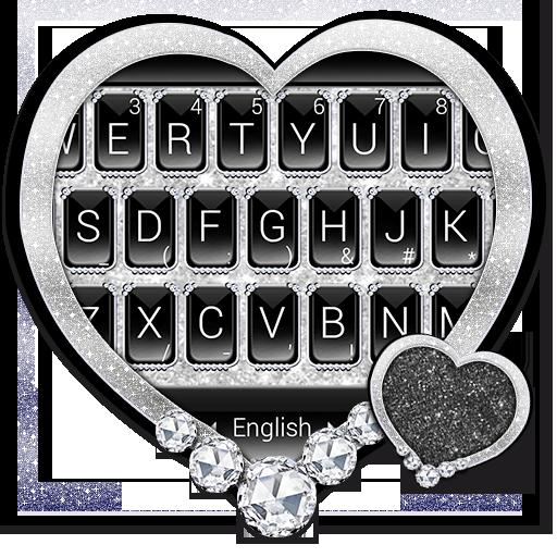 Black Silver Glitter Keyboard Theme