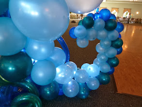 Photo: 7' tall Sea Horse balloon sculpture design by the Awesome Chris Horne CBA, a few extra details by us for the Under the Sea themed Grand Haven High School Prom 2011 at Trillium Banquet Hall, Spring Lake, Michigan. Love the LED ceiling!