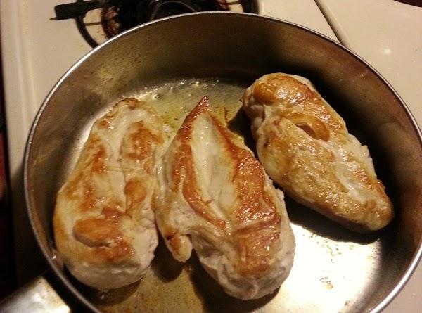 Heat skillet over medium flame.  Add oil when hot.  Then fry chicken...